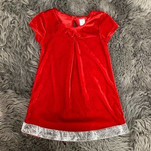 George   Girl's Holiday Dress   Red and Silver